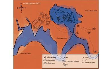 carte de Waterworld - illustration Julie Loomis
