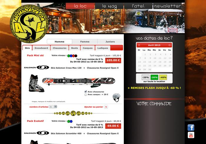 image site internet de location de ski - Arcskilocation Arc 1600