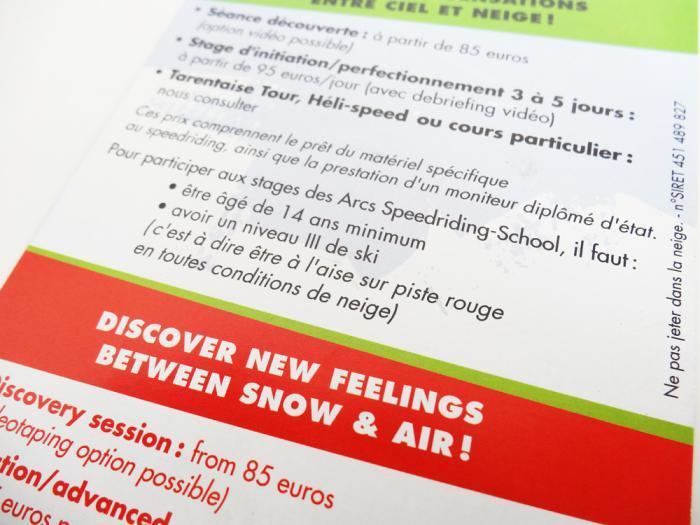 flyer Speedriding School aux Arcs - français/ anglais