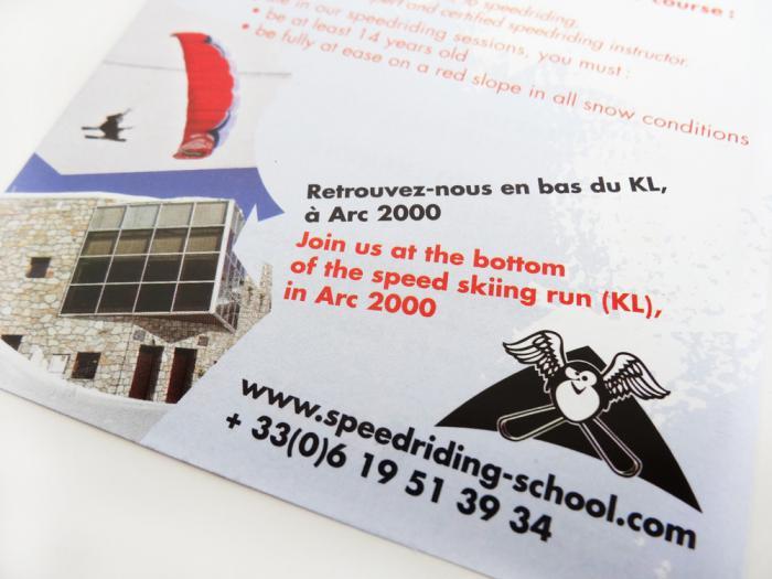 flyer Speedriding School aux Arcs - détail
