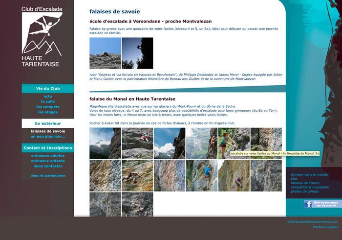 image site vitrine du club d'escalade de haute tarentaise 03