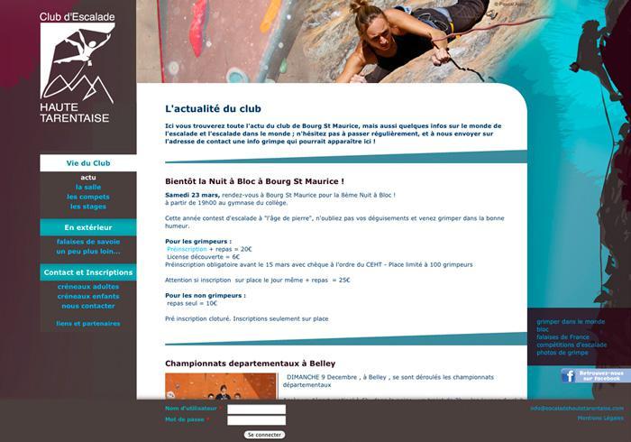 image site vitrine du club d'escalade de haute tarentaise 01