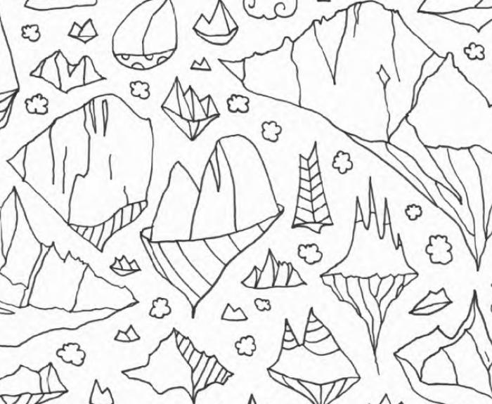 des montagnes dans les nuages, coloriage Jugraphics