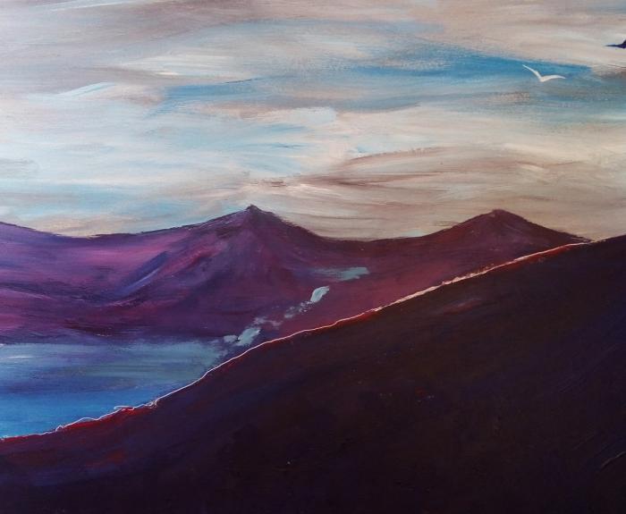 peinture acrylique - paysage de montagne
