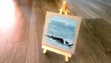 mini toile représentant une silhouette d'étagne - jul