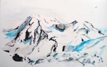 tableau du Mont-Pourri surplombant les Arcs