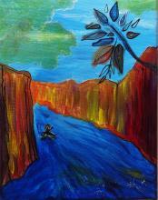 tableau - kayak dans les gorges - Julie Loomis