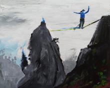 tableau julie loomis - acrylique sur bois - highline