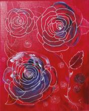 Acrylique et encre sur toile représentant des roses - tableau jul'