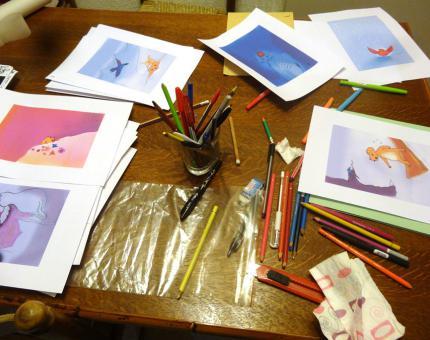 atelier d'illustration pour les Contes du Froid de Valérie Bonenfant