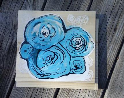 illustration Julie Loomis - médiums divers sur bois - Roses bleues.