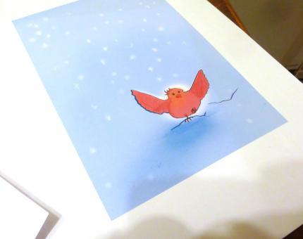 illustration couleur Le Moineau Glacé