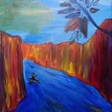 illustration Julie Loomis - acrylique sur toile - Kayak